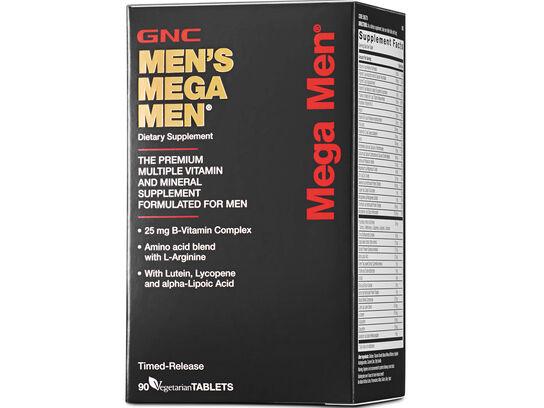 GNC Men's Mega Men 90 vegetarian tablets (front side right box)
