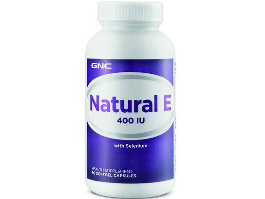 GNC Natural E 400IU with Selenium 90 softgel capsules (front bottle)
