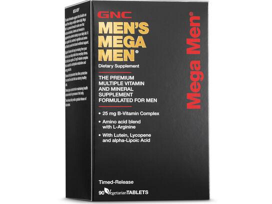 GNC Men's Mega Men 90 vegetarian tablets (front side left box)